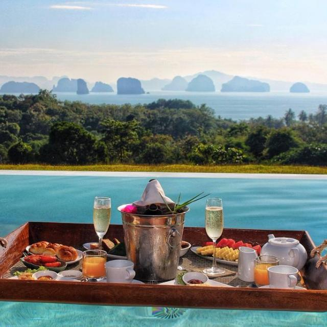 Floating breakfast at 9 Hornbills Adult only Glamping Koh Yao