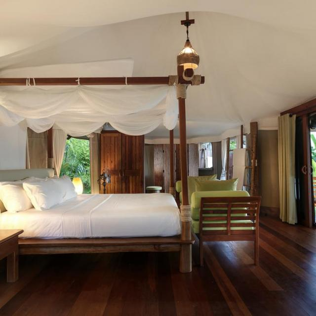 Inside tent with Bed and sofa 9 Hornbills Adult only Glamping Koh Yao