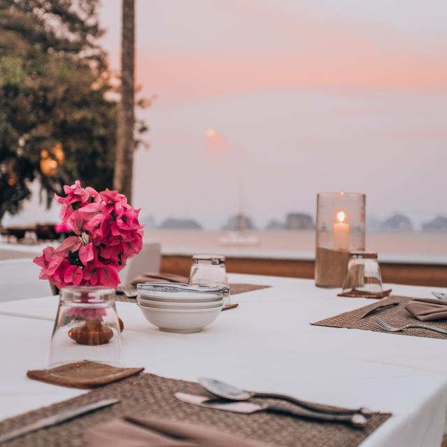 Romantic sunset dinner at 9 Hornbills Adult only Glamping Koh Yao